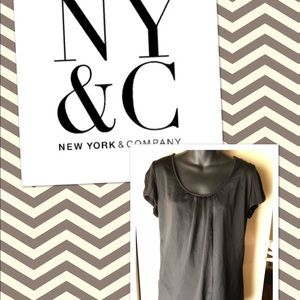 NY&C Black Stretch knit blouse with satin overlay
